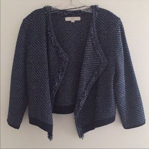 LOFT Small Navy Blue Open Front Knit Jacket